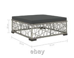 Rattan Garden Furniture Grey Wicker Patio Corner Sofa Set Metal Lounge Table