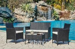 Rattan Garden Furniture Set Conservatory Patio Chaises De Table Extérieures Sofa Cover