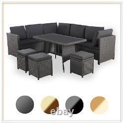Rattan Garden Furniture Set Corner Lounge Outdoor Canapé Chaise Tabourets Patio Grey