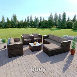 Rattan Garden Furniture Set Corner Sofa Fauteuils Table Basse Ottoman 7 Seater