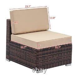 Rattan Garden Meubles Lounge Set Brown Khaki Fauteuil Extérieur Canapé Corner Patio