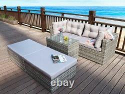 Rattan Garden Wicker Outdoor Sun Lounger Sofa Furniture Set Cube Corner Dining