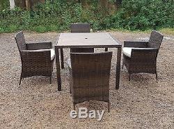 Rattan Wicker Conservatory Mobilier De Jardin En Plein Air Patio Cube Table Chair Set 4
