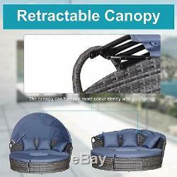 Ronde En Rotin Canapé Canopy Café Table De Jardin En Osier Jour Lit Gris Meubles De Patio