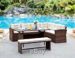 Rotin Corner Group Meubles De Jardin Ensemble Salon Extérieur Sofa Set De Table Et Banc