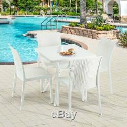 Rotin De Jardin Salle A Table Et 4 Chaises Manger Portier Patio Blanc