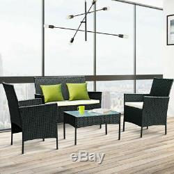 Rotin Jardin 4pc Meubles Set Conservatory Patio Extérieur Table Chaises Noires Au Royaume-uni