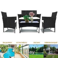 Rotin Meubles De Jardin Ensemble 4 Chaises Piece Sofa Table Patio Extérieur Conservatory