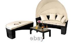 Rotin Sun Lounger Méridienne Mobilier De Jardin Table Et Canopy Set Sofa