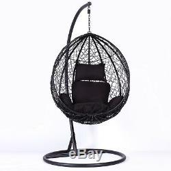 Rotin Swing Patio Garden Weave Suspendus Oeuf Chaise & Coussin Extérieur Intérieur