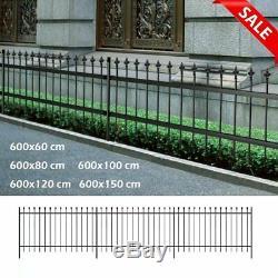 Sécurité Panneau De Jardin En Métal Clôture Palisade Clôture En Acier Garde-corps Noir 60-150cm