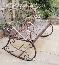 Shabby Chic Jardin Banc Classique Balançoire Rocking Chair Métal Meubles De Patio Siège