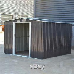 Shed Métal 8 X 8 Ft Deep Grey Apex Remise De Jardin Rangement Extérieur Cabinet Toolsheds