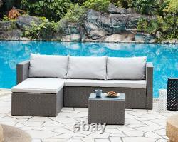 Sofa Extérieur Ensemble Meubles De Jardin Noir Ou Gris Rattan Lounge Sofa Chaise Table
