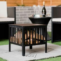 Square Fire Pit Basket Large Black Metal Bbq Outdoor Garden Heater Log Burner