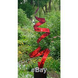 Statements2000 Sculpture De Jardin D'art Abstrait En Métal Moderne Par Jon Allen Red Twist