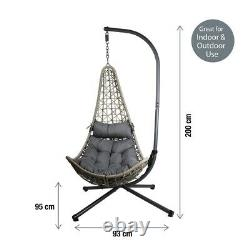 Suspension Rattan Swing Patio Garden Chaise Weave Egg Avec Coussin Intérieur Extérieur Nouveau