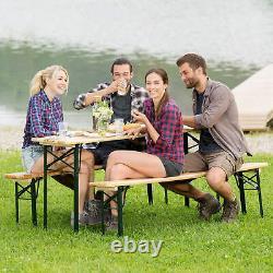 Table De Fête De La Bière Ensemble Extérieur Jardin Pliant Banc De Bière Table De Bière En Bois Nouveau