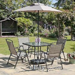 Table De Jardin En Plein Air Avec 7 Chaises Pliantes Et Parasols