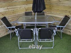Table De Patio De Jardin De 6 Personnes, 6 Chaises Et Parasol