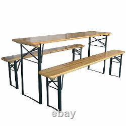 Table De Table De Pliage En Bois D'extérieur Meubles De Jardin Ensemble De Pieds En Acier Trestle
