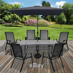 Table Et Chaises De Jardin Portier Patio Gris Meubles En Verre Table Parasol Base