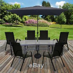 Table Et Chaises De Jardin Portier Verre Patio Noir Meubles Table Parasol Base