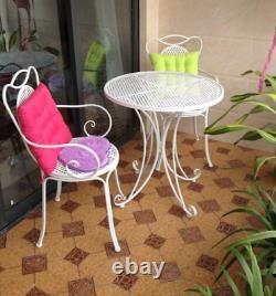 Table Extérieure Intérieure & Chaise Patio Ensemble White Metal Garden Balcony Cafe 3 Pcs