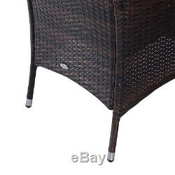 Table Rectangulaire De Patio De Meubles De Salle À Manger De Jardin De Rotin 6 Chaises De Cube En Brun
