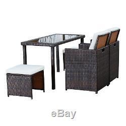 Tables Et Chaises Pliantes Avec Repose-pieds De Jardin En Rotin Outsunny 5pc