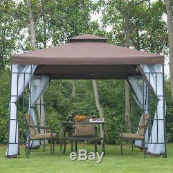 Tente De Réception Chapiteau Auvent Pavillon Maille Jardin En Acier Brun 3m X 3m