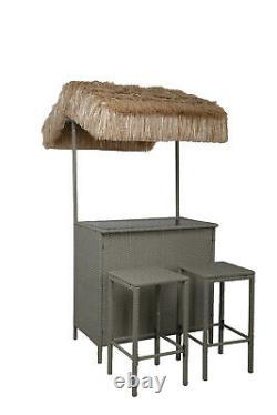 Tiki Bar 3 Pièce Rattan Set Garden Mobilier Extérieur Gris
