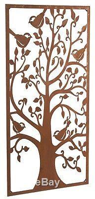 Un Magnifique Jardin D'arbres Et D'oiseaux En Acier Rustique Offre Une Excellente Barrière De 1,8 M De Hauteur