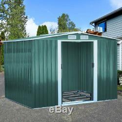 Vert Abri De Jardin En Métal 6x4, 8x4, 8x6, 8x10ft Acier Maison Stockage Avec Free Base