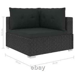 Vidaxl 5x Garden Lounge Ensemble Avec Coussins Poly Rattan Black Outdoor Sofa Sets