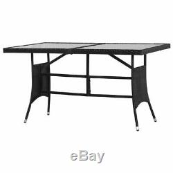 Vidaxl 7 Piece Set Salon Extérieur Poly Rotin Jardin Noir Patio Table Chaise