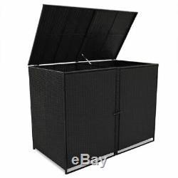 Vidaxl Double Wheelie Bin Shed Poly Rotin Noir 148x80x111cm Jardin Hider Box