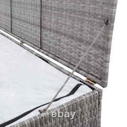 Vidaxl Garden Boîte De Rangement Gris 120cm Poly Rattan Patio Coffre De Rangement Extérieur