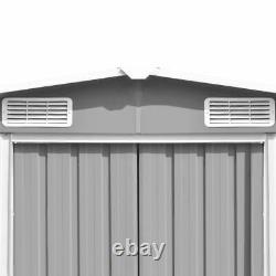 Vidaxl Garden Shed 257x489x181cm Metal Grey Outdoor Tool Storage House Cabine