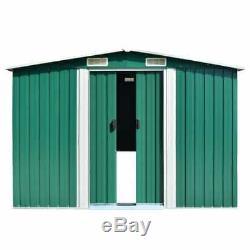 Vidaxl Jardin Shed 257x497x178cm Extérieur Vert Métal Rangementplomberie Maison Chalet