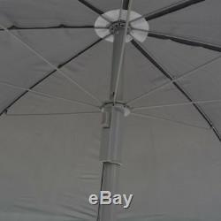 Vidaxl Repas En Plein Air Ensemble 6/8 Pièces Textilene Gris Table De Jardin Chaise Parapluie