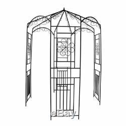 Vidaxl Rose Arch 250cm Pergola De Soutien D'escalade Pour Plantes De Jardin En Métal
