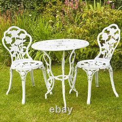 White Bistro Set De Meubles De Jardin De Patio D'extérieur Et 2 Chaises En Métal