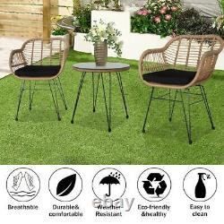 Wicker Bistro Sets Outdoor Garden Furniture Table Rattan Chairs Seat Patio