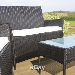 Wido 4 Pc Garden Patio Black Rattan Sofa Meuble Conservatoire Pour Extérieur