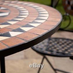Wido 4 Places Bistro Ensemble Patio Pour Exterieur Mosaic Design Jardin Pliant Chaises De Table