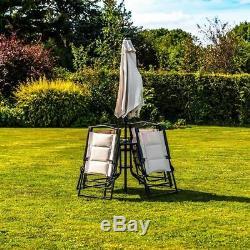 Wido Cream Deluxe Extérieur Jardin De Jardin En Patio Table, 4 Chaises Et Parasol
