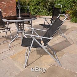 Wido Garden Patio Noir 6pc 4 Sièges Meubles De Plein Air Table À Repasser