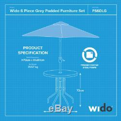 Wido Grey Deluxe Ensemble De Meubles De Patio Pour Jardin Extérieur, 4 Chaises Et Parasol