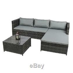Wido Rattan Garden Set De Meubles Coin Sofa Table De Verre Gris Confort Extérieur